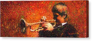 Jazz Trumpeter Canvas Print by Yuriy  Shevchuk