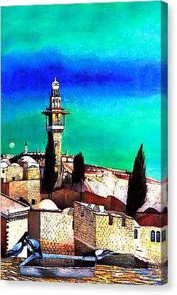 Jerusalem From The Mount Of Olives Canvas Print by Munir Alawi