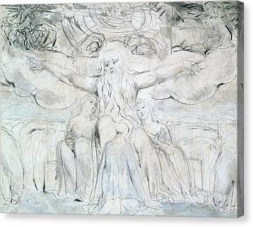 Job And His Daughters  Canvas Print by William Blake