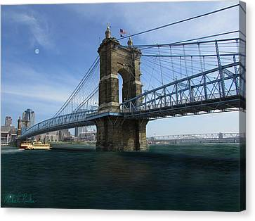 John A. Roebling Suspension Bridge Canvas Print by Michael Rucker