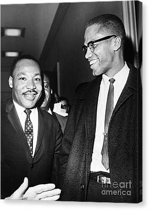 King And Malcolm X, 1964 Canvas Print by Granger
