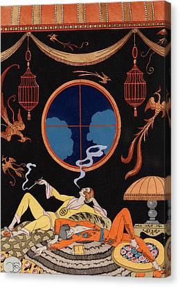 La Paresse Canvas Print by Georges Barbier