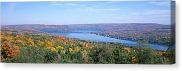 Lake Surrounded By Hills, Keuka Lake Canvas Print by Panoramic Images