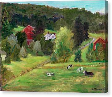 Landscape With Cows Canvas Print by Ethel Vrana