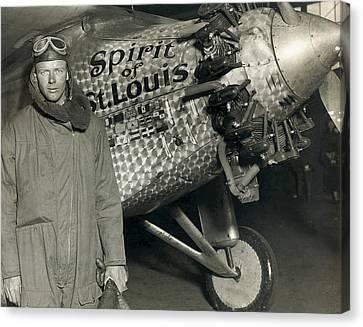 Lindbergh With His Airplane, 1928 Canvas Print by Detlev Van Ravenswaay