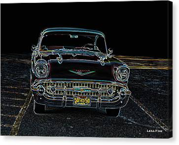 57' Chevy  Neon Art Classic  Cars Canvas Print by Lesa Fine