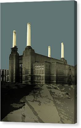London - Battersea Power Station - Soft Blue Greys  Canvas Print by Big Fat Arts