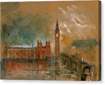 London Watercolor Painting Canvas Print by Juan  Bosco