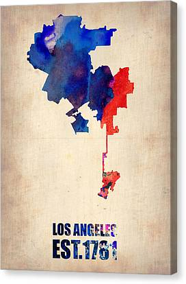 Los Angeles Watercolor Map 1 Canvas Print by Naxart Studio