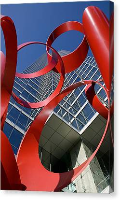 Low Angle View Of A Sculpture In Front Canvas Print by Panoramic Images