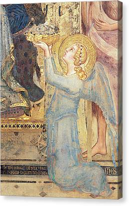 Maesta  Angel Offering Flowers To The Virgin Canvas Print by Simone Martini