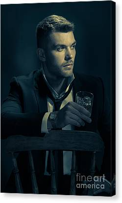 Man Drinking Whiskey Canvas Print by Amanda And Christopher Elwell