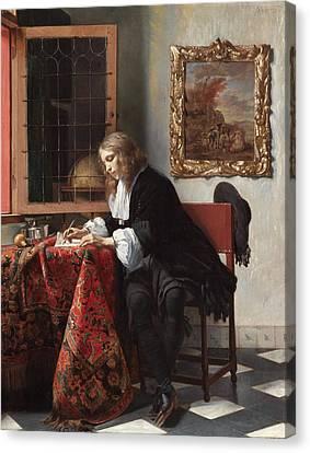 Man Writing A Letter Canvas Print by Gabriel Metsu