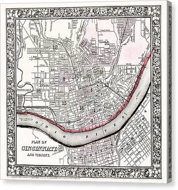 Map Of Cincinnati Ohio 1864 Canvas Print by Mountain Dreams