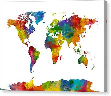 Map Of The World Map Watercolor Canvas Print by Michael Tompsett