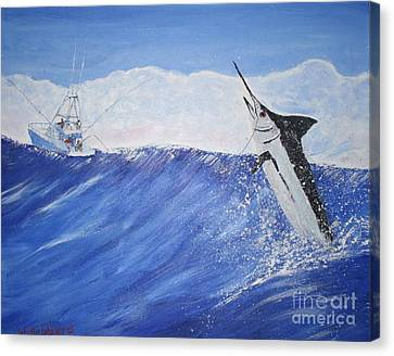 Marlin On Line Canvas Print by Bill Hubbard