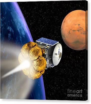 Mars Express Booster Rocket, Artwork Canvas Print by David Ducros