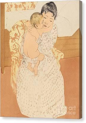 Maternal Caress Canvas Print by Mary Stevenson Cassatt