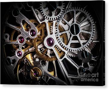 Mechanism, Clockwork Of A Watch With Jewels, Close-up. Vintage Luxury Canvas Print by Michal Bednarek