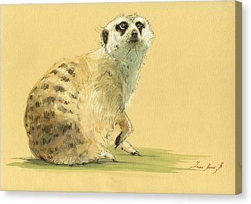 Meerkat Or Suricate Painting Canvas Print by Juan  Bosco