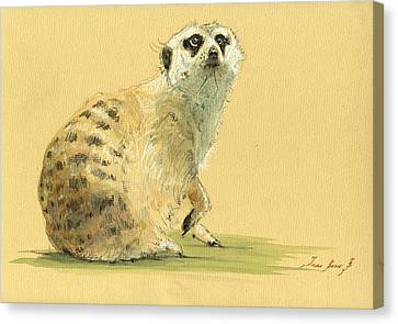 Meerkat Or Suricate Painting Canvas Print by Juan  Bosco