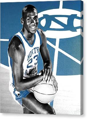 Michael Jordan In The Beginning Canvas Print by Brian Reaves