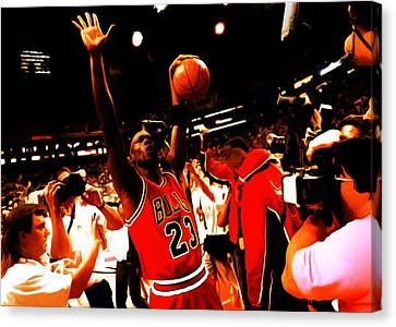 Michael Jordan Sweet Victory Canvas Print by Brian Reaves
