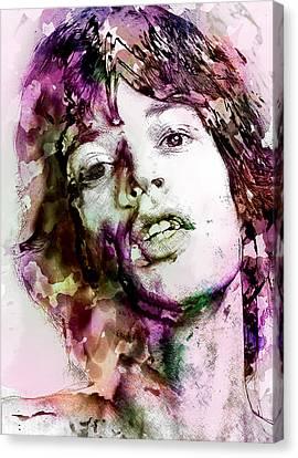 Mick Jagger Poster Canvas Print featuring the digital art Mick Jagger  by Elena Kosvincheva