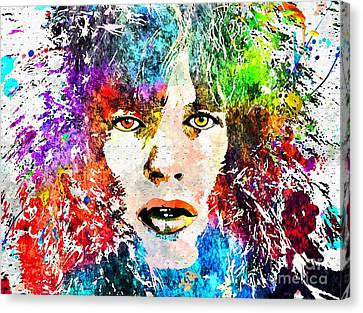 Mick Jagger Poster Canvas Print featuring the mixed media Mick Jagger Portrait Grunge by Daniel Janda