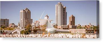 Milwaukee Skyline Panorama Photo Canvas Print by Paul Velgos