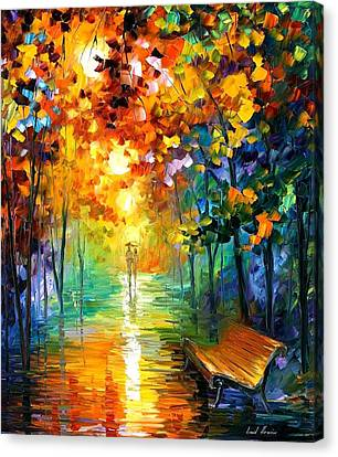 Misty Park Canvas Print by Leonid Afremov