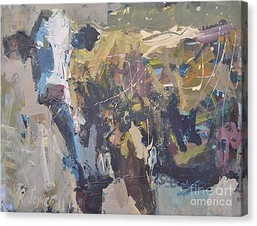 Modern Abstract Cow Painting Canvas Print by Robert Joyner