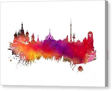 Moscow Skyline Canvas Print by Justyna JBJart