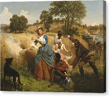 Mrs Schuyler Burning Her Wheat Fields On The Approach Of The British Canvas Print by Emanuel Gottlieb Leutze