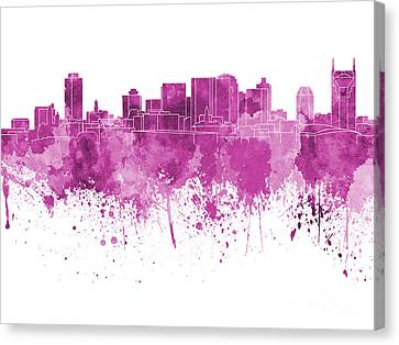 Nashville Skyline In Pink Watercolor On White Background Canvas Print by Pablo Romero