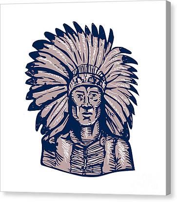 Native American Indian Chief Warrior Etching Canvas Print by Aloysius Patrimonio