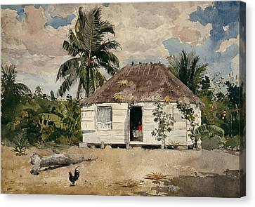 Native Huts - Nassau Canvas Print by Winslow Homer
