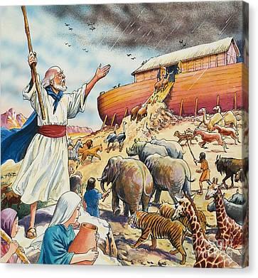 Biblical Scene  Noahs Ark Canvas Print by English School