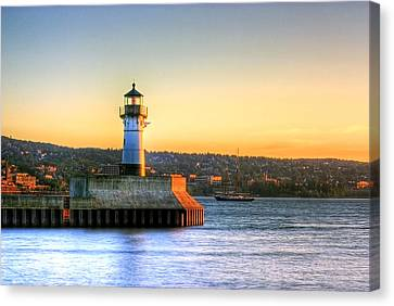 North Pier Lighthouse Canvas Print by Bryan Benson