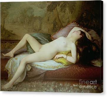 Nude Lying On A Chaise Longue Canvas Print by Gustave-Henri-Eugene Delhumeau