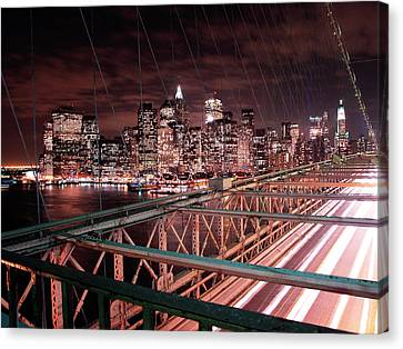 Nyc Night Lights Canvas Print by Nina Papiorek