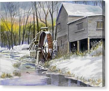 Old Mill In Winter  Sold Canvas Print by Jack Bolin