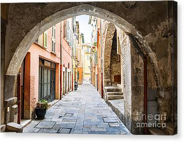 Old Street In Villefranche-sur-mer Canvas Print by Elena Elisseeva