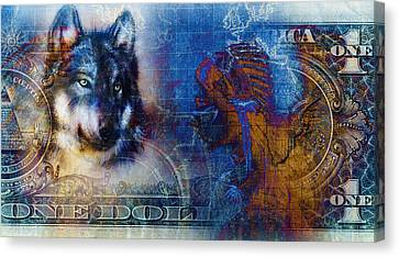 One Dollar Collage With Indian Woman Warrior And Wolf, Ornament Background Canvas Print by Jozef Klopacka