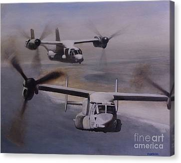 Ospreys Over The New River Inlet Canvas Print by Stephen Roberson