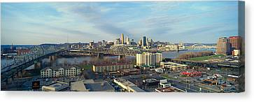 Panoramic Afternoon Shot Of Cincinnati Canvas Print by Panoramic Images
