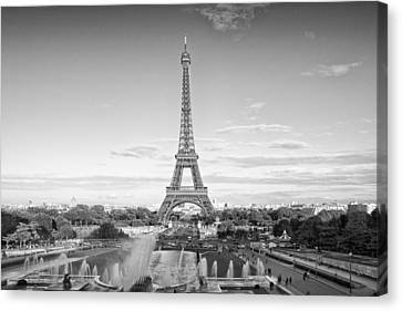 Paris Eiffel Tower Monochrome Canvas Print by Melanie Viola