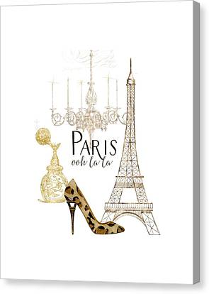 Paris - Ooh La La Fashion Eiffel Tower Chandelier Perfume Bottle Canvas Print by Audrey Jeanne Roberts