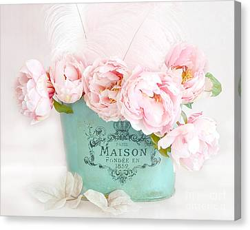 Paris Peonies Shabby Chic Dreamy Pink Peonies Romantic Cottage Chic Paris Peonies Floral Art Canvas Print by Kathy Fornal