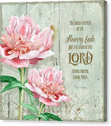 Peony At The Fence Canvas Print by Audrey Jeanne Roberts